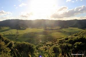 Aussicht über das Land vom Leuchtturm-Berg