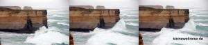 Wellen schlagen gegen die Klippen