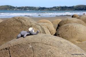 Fanta an den Moeraki Boulders