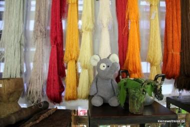 Fanta mit Indigo vor gefärbter Seide
