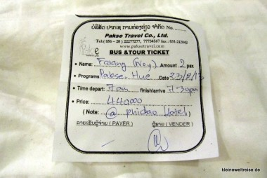 unser Ticket auf den Namen Falang
