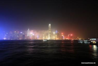 Blick nach Central: Hongkong bei Nacht