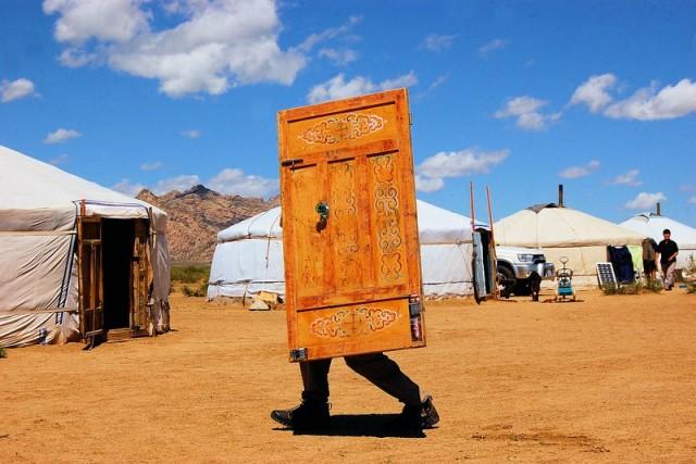 laufende Tür in der Mongolei